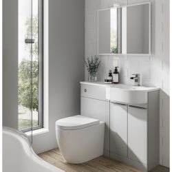 Elation Combination 1010mm P Shaped Basin Vanity Unit with WC Right Hand - Pearl Grey Matt