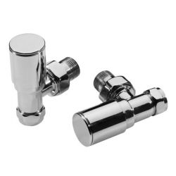 Pair Modern Roma Angled Chrome Radiator Valves