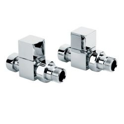 Pair Square Straight Chrome Radiator Valves