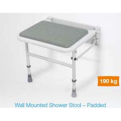 White / Grey  Plastic Wall Mounted Padded Shower Seat with Legs - Up to 190kg