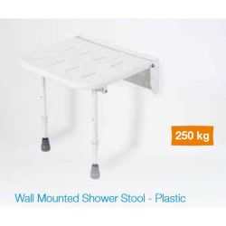 White Plastic Wall Mounted Shower Seat with Legs - Up to 250kg