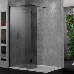 Aquadart Walk-In Wetroom 10 Shower Panel 700mm - Smoked Glass