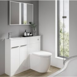Elation Combination 1010mm Straight Basin Vanity Unit with WC - White Gloss