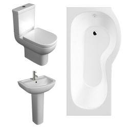 Kartell Studio Bathroom Suite with P Shaped Shower Bath