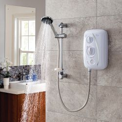 Triton T80ZFF Fast Fit Electric Shower 7.5kW with Riser Kit - White/Chrome
