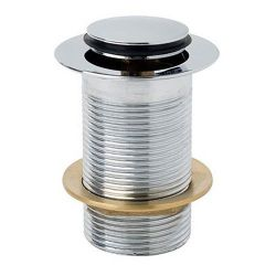 Unslotted Push Button Basin Waste with Centre Plug