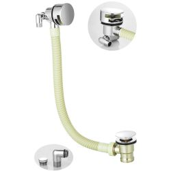 Bath Filler with Round Overflow and Push Button Waste