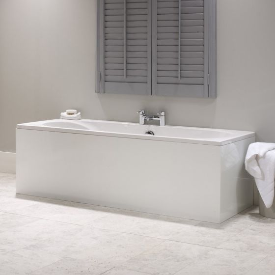 roma 1 piece white mdf bath panel 1700mm long. Black Bedroom Furniture Sets. Home Design Ideas