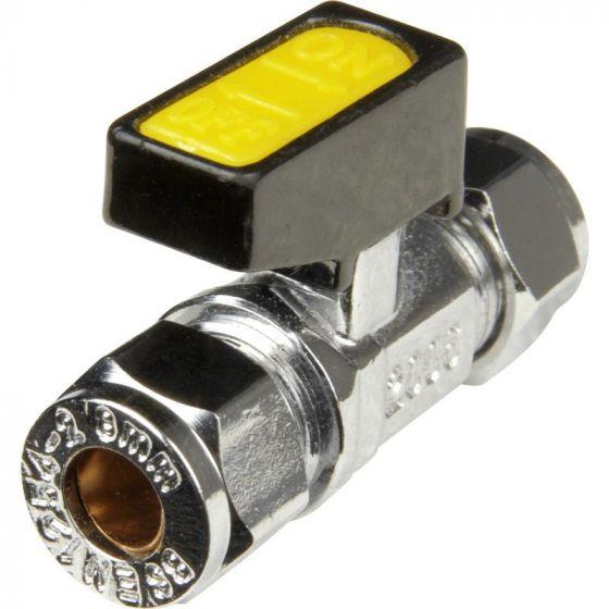 Chrome Compression Lever Gas Cock 15mm