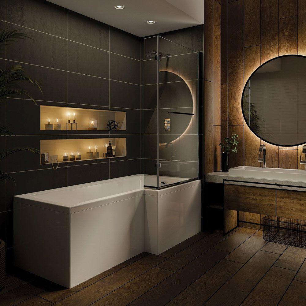 TrojanCast Solarna 1500mm x 850mm L Shaped Shower Bath - Right Hand