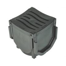 FloDrain 110mm Channel Drain Corner with Black Grate