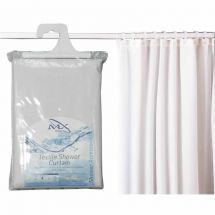 MX White Textile Shower Curtain 1800mm With Rings