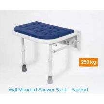 White / Blue Plastic Wall Mounted Padded Shower Seat with Legs - Up to 250kg