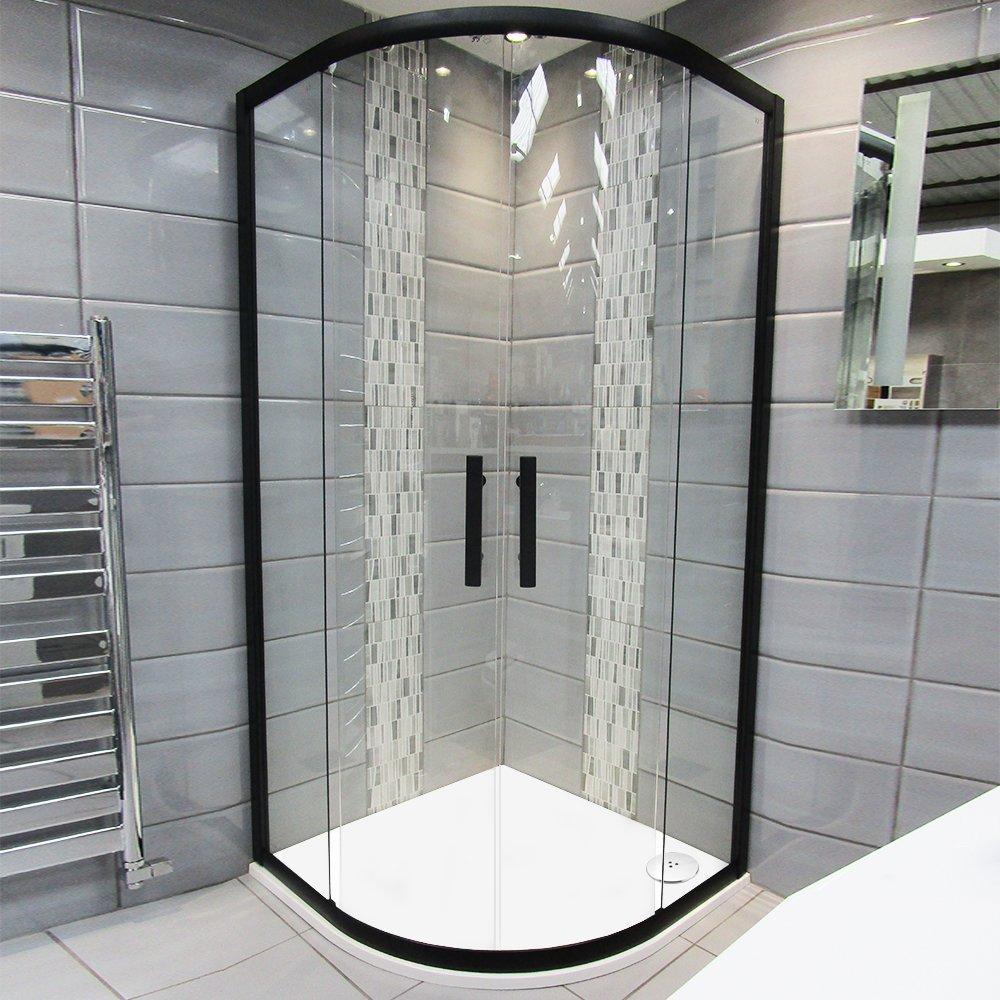 Black Quadrant Shower Enclosure Corner Cubicle 6mm Sliding Glass