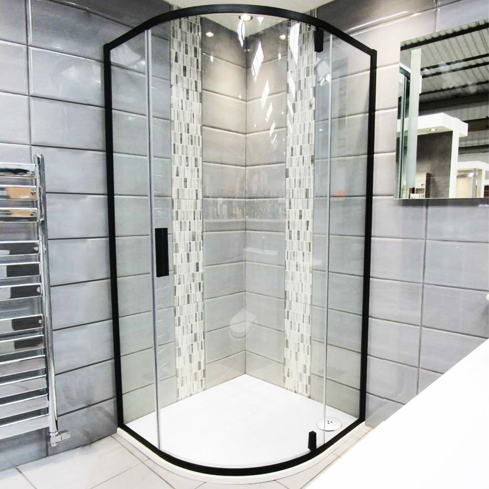 Black Quadrant Shower Enclosure Corner Cubicle 6mm Pivot Glass Door ...