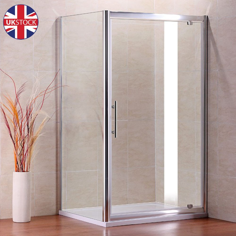 Pivot Door Shower Enclosure And Tray Cubicle 6mm Glass Screen And